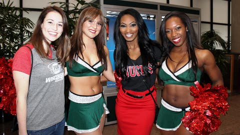 All smiles with the Milwaukee Bucks Dancers during the Bucks final game of the season.