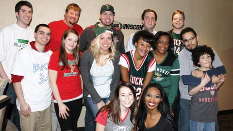 "Living the ""suite"" life. These lucky Bucks fans had their seats upgraded to the FOX Sports Wisconsin suite for the game."