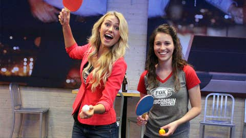As they wait to hear how the ping pong balls bounced in NYC, Chyna & Sage perfect their doubles ping pong at the Bucks Draft Lottery Viewing Party.