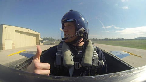 A.J. Hawk flies with the Blue Angels