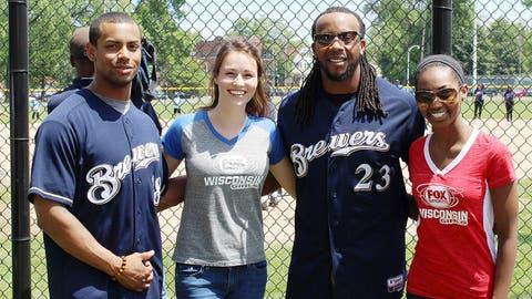 The Brewers helped make the Sherman Park baseball diamond a reality. Rickie Weeks & Khris Davis joined Sage and Bishara at the ballpark dedication.