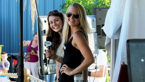The FOX Sports Wisconsin Girls are ready to get the crowd going during Brewers Live at Marley's.