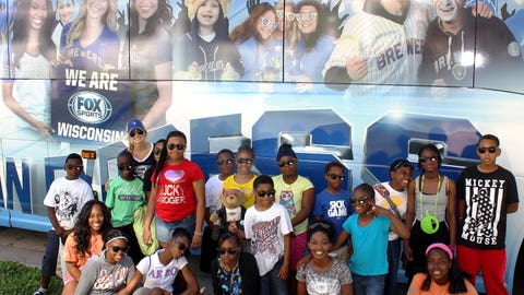 The FOX Sports Wisconsin Girls surprised these campers by picking them up with the FOX Sports Wisconsin Fan Express.