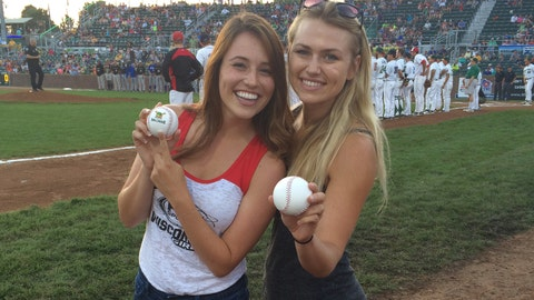 Success! Sage and Chyna were all smiles after throwing out the ceremonial 1st pitch.