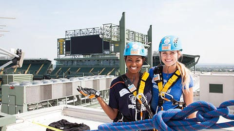 Bishara & Chyna enjoy the view at Lambeau before their 130 foot rappel.