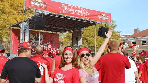 Sage & Chyna enjoy the UW marching band's performance at Badgerville.
