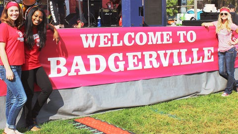 The FOX Sports Wisconsin Girls had a great time hanging out with Badgers fans at Badgerville.