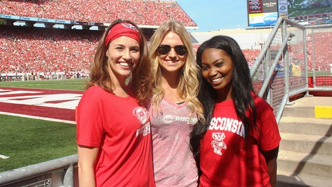 Sage, Chyna & Bishara are all smiles after a 27-10 victory by the Badgers.