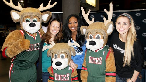All smiles with Bango & co. after a Bucks W vs. Detroit & a successful night sharing FOX Sports GO with fans!