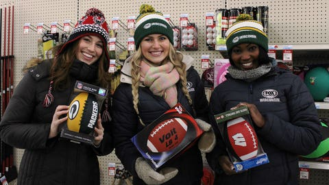 Which football should the FOX Sports Wisconsin Girls pick to donate to the Toy Drive? So many to choose from at Toyland!