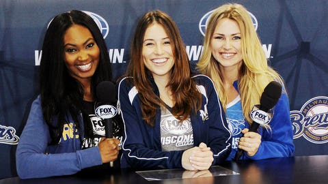 The FOX Sports Wisconsin Girls take their turn behind the desk at our Be A Sports Anchor booth.
