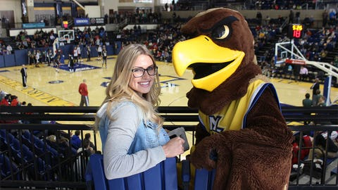 Marquette's Golden Eagle & Chyna have a birds' eye view of the practice.