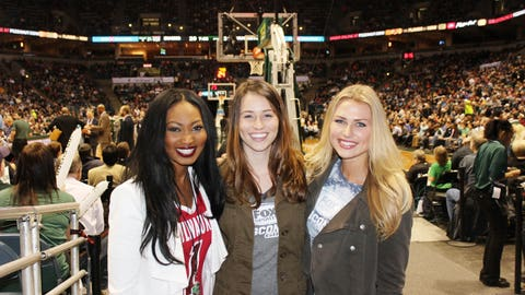The FOX Sports Wisconsin Girls are all smiles after seeing the Bucks beat the Nuggets 89-81.