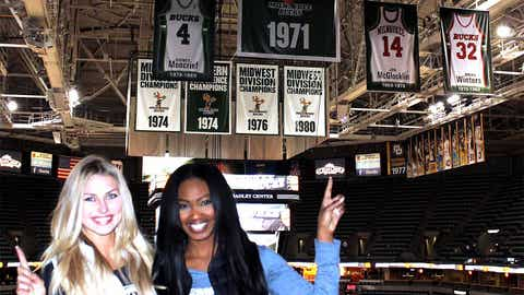 Bishara & Chyna get an up-close look at the place where Bob Dandridge's retired jersey will hang.