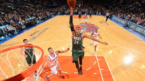 Giannis Antetokounmpo. Stats: 12.7 PPG, 6.7 RPG, 2.6 APG, 49.1 FG%, 74.1 FT% in 81 games