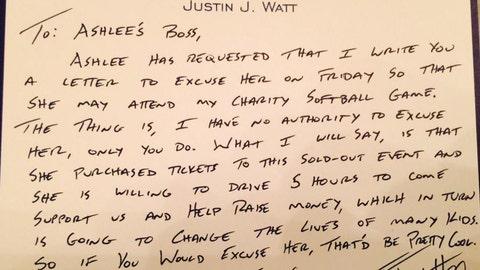 J.J. Watt, Texans and ex-Badgers defensive end