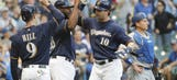 Guerra goes 8 innings, Braun with 4 RBI as Brewers blank Dodgers