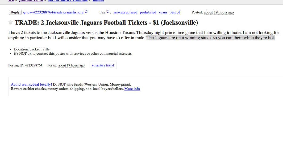Jaguars Craigslist ad is perfect combination of sad and funny | FOX