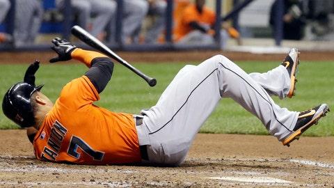 September runner-up: Sept. 11 -- Giancarlo Stanton hit in face by fastball