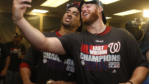 Nationals shortstop Ian Desmond (left) mugs for the camera