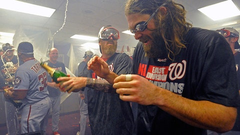 Despite the goggles, Nationals outfielder Jayson Werth still has issues with the bubbly
