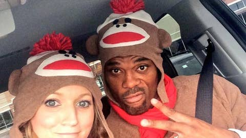 Bills' Fred and Danielle Jackson as sock monkeys