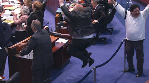 Rob Ford jumps for joy when Canada's women's hockey team wins gold at Sochi