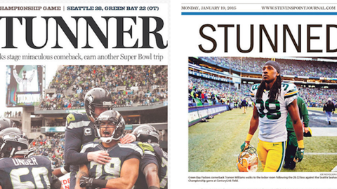 Washington and Wisconsin newspaper covers tell the story the day after the Seattle-Green Bay NFC championship game