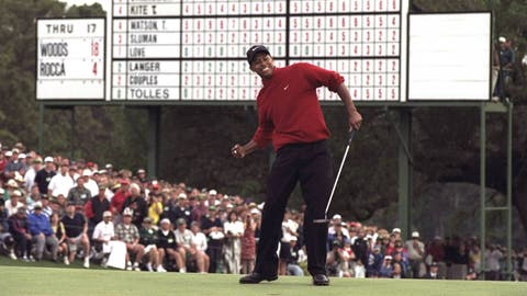 1997: Tiger Woods wins The Masters, his first major