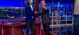 Stephen Curry battles Stephen Colbert in sock-throwing contest