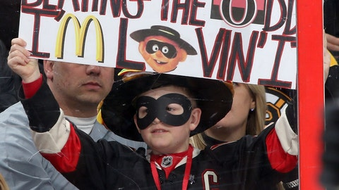 In March, Ottawa Senators fans threw hamburgers at goalie Andrew 'The Hamburglar' Hammond
