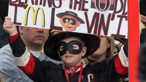 In March, Ottawa Senators fans threw hamburgers at goalie Andrew 'The Hamburglar' Hammond