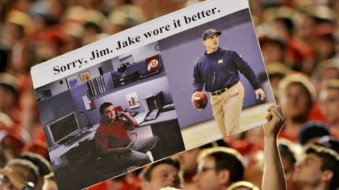 On Harbaugh and his economy khakis