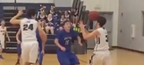 High school basketball player's pass ricochets off teammate's face into basket