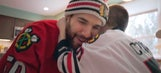 Corey Crawford surprises young fan as his babysitter for the day