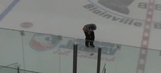 Crazed hockey fan launches can of beer at referee that drills him below the belt