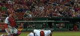 Yadier Molina rips a base hit after mid at-bat pushups