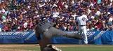 Diamondbacks pitcher Tyler Clippard falls off the mound on first pitch