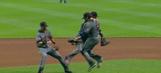 Two Diamondbacks awkwardly crashed while chasing an infield blooper
