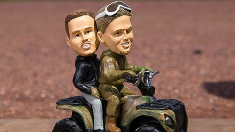 Chipper Jones and Freddie Freeman on an ATV