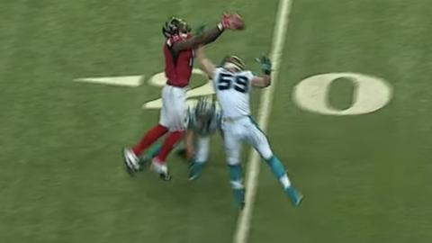 Julio Jones leaps over Luke Kuechly en route to a 70-yard touchdown grab (Week 16)