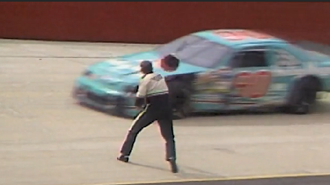 Dale Jarrett Helmet fires his helmet at Bobby Hillin Jr. (April 1993)
