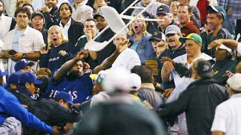 Frank Francisco launches a chair into the stands (September 2004)