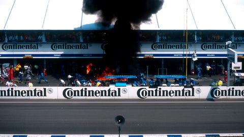 Germany 1994: Jos Verstappen pit fire