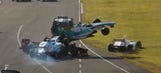 Car becomes ramp as others fly over it in Super Formula start crash