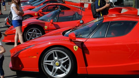 Ferraris on display in Beverly Hills