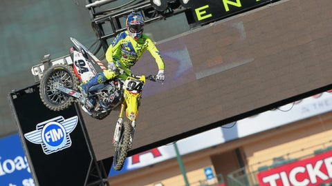 Photos: Supercross riders take part in Press Day at Angel Stadium
