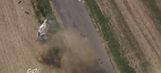 Driver and navigator escape from violent rally car flip