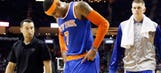 Carmelo Anthony exits with back spasms in Knicks' loss to Rockets