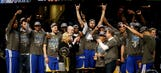 Warriors hang championship banner in their practice facility (VIDEO)